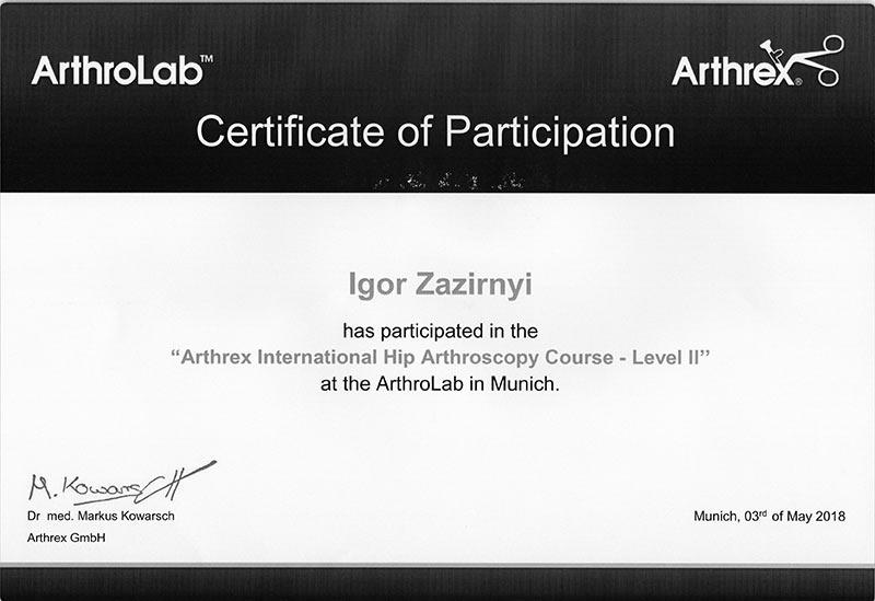 Certificate ARTHREX