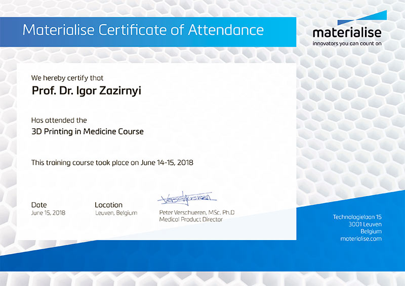 3D Printing in Medicine Course - Certificate