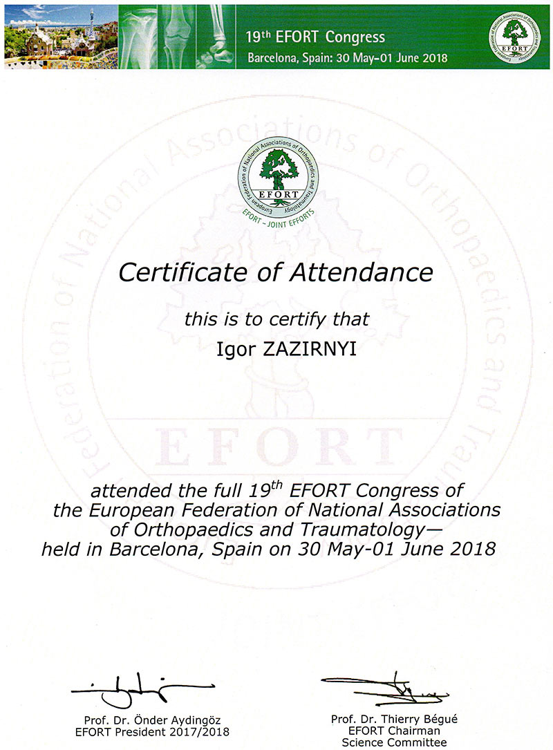 19th EFORT Congress - Certificate