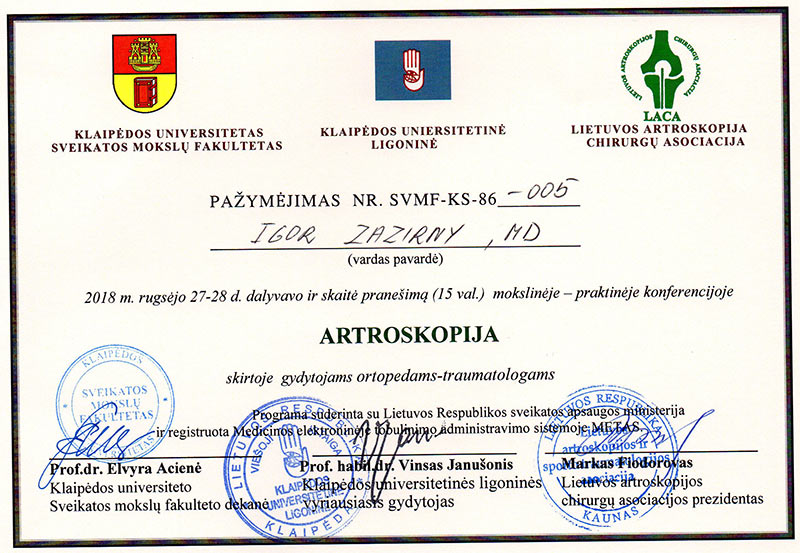 Certificate - Internetional conference in Klaipeda, Lietuva