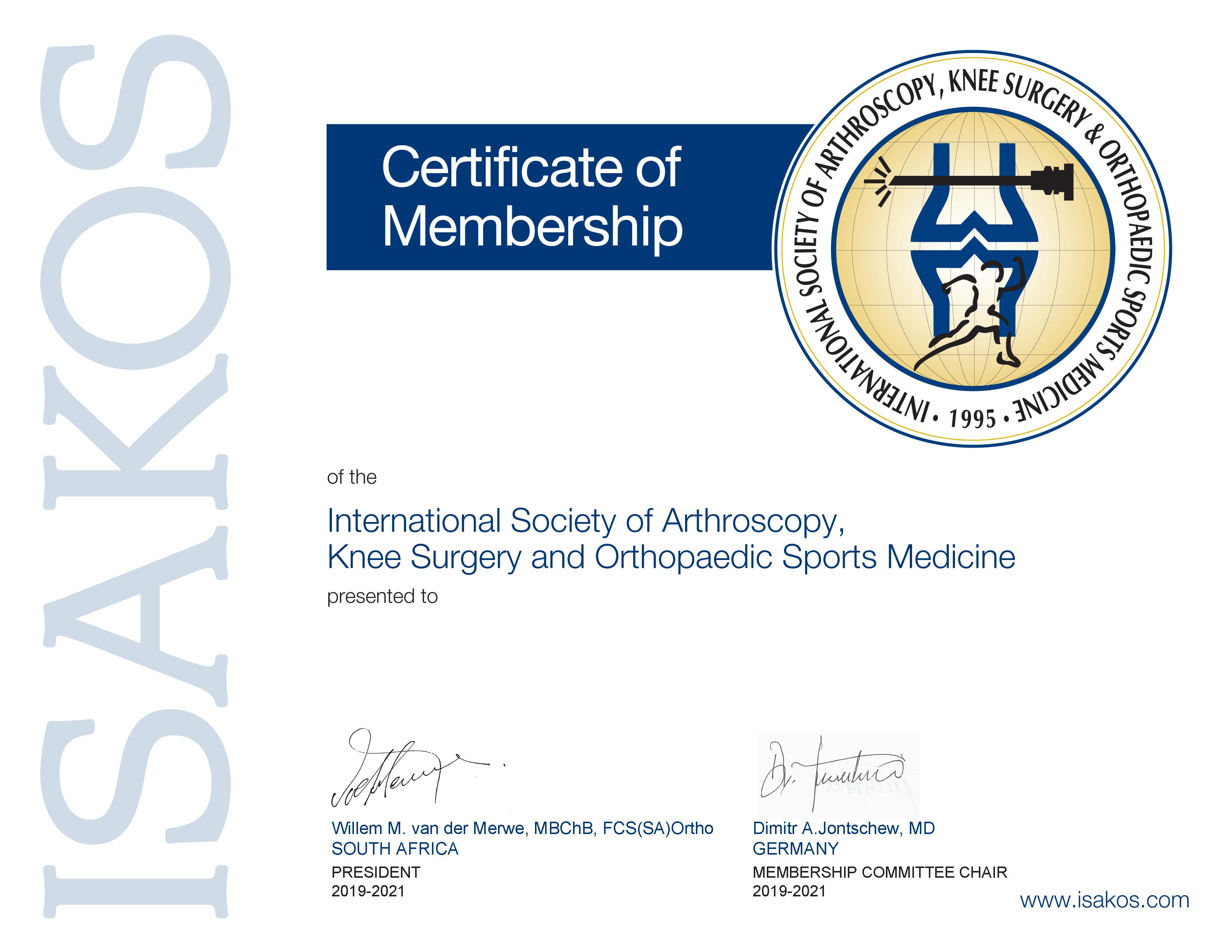 Сертификат ISAKOS